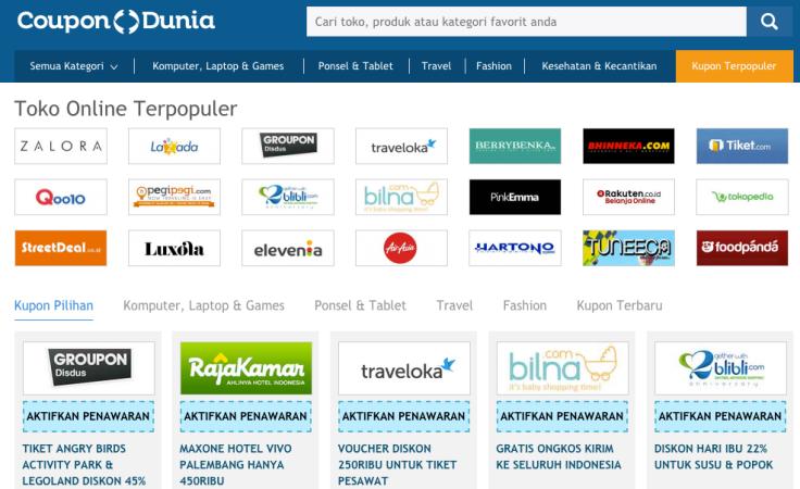 CouponDunia.coid menyediakan informasi lengkap kupon dari berbagai macam toko online