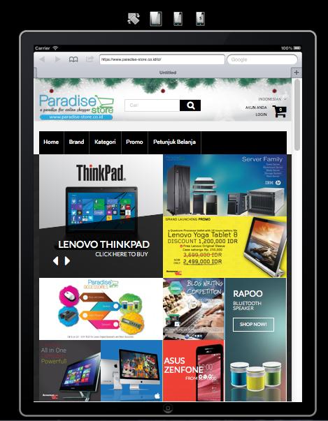 Contoh tampilan website paradise-store.co.id yang responsif di tablet. Silahkan gunakan http://ipadpeek.com/ untuk mengecek apakah toko onlinenya sudah ramah terhadap pengguna mobile.