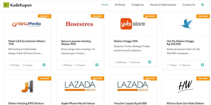 KodeKupon.com yang juga menyediakan variasi jenis kupon toko online di Indonesia