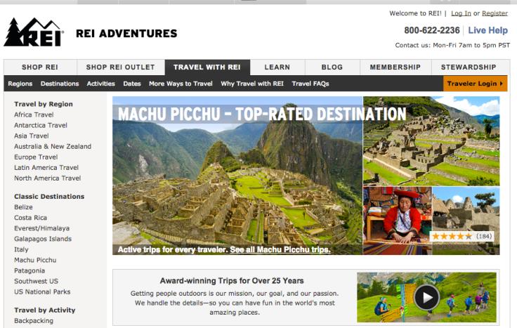 REI.com, toko online menjual produk REI, menyediakan rubrik khusus tentang tips travel.